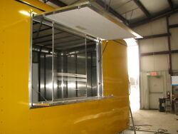 36 T X 96 W Enclosed Trailer, Truck, Concession Window And Screens In White