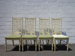Chairs Faux Bamboo Dining Set Of Seating Hollywood Regency Chinese Chippendale