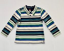 Tea Collection Long Sleeve Blue Green Black Ivory Striped Henley Polo Top, 2-3 T
