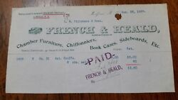 1897 Milford New Hampshire Billhead French And Heald Chamber Furniture
