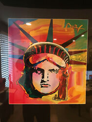 PETER MAX original signed PAINTING Statue of LIBERTY Head USA oil