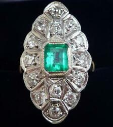 Edwardian 18ct And White Gold 0.65ct Colombian Emerald And Diamond Marquise Ring