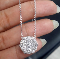 Deal 2.50ct Genuine Round Cut Cluster Diamond Pendant Charm 14k Gold With Chain