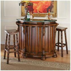 Home Bar Furniture Marble Topped Wood English Pub Replica Wine Storage Shelves