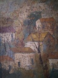 Jean-claude Mayodon 1938-1981 Original Oil Painting Of A French Village