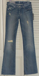 7 For All Mankind 23 Bootcut Peekaboo Crystal Pocket Distressed Jeans In Vsp New