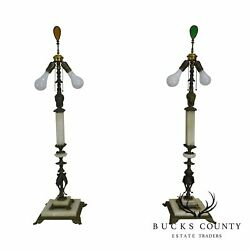 Oscar Bach Style Vintage Art Deco Brass And Onyx Tall Lamps