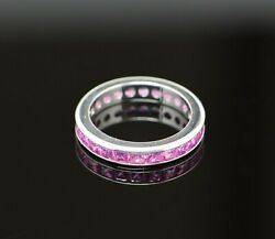 18k White Gold Superb Pink Sapphire Eternity Band Size 6
