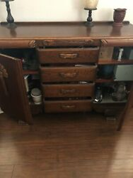 English Cherry Wood Side Board Hutch In Good Condition Must Sell Quickly