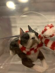 Sandicast Boston Terrier With Scarf Christmas Ornament