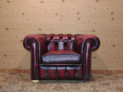 Chesterfield Chair, Original English Vintage In Bordeaux Leather.