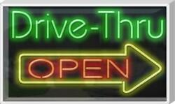 Outdoor Drive Thru Open W/ Right Arrow Neon Sign | Jantec | 37 X 22 | Take Out