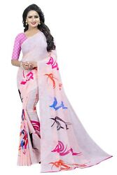 Indian Designer Georgette wedding Party printed bollywood saree with blouse FS