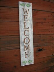 Wood Front Door Sign Welcome Porch Vertical White Farmhouse Handmade 33 Tall