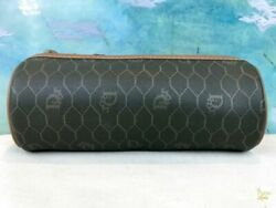 $495 CHRISTIAN DIOR Brown Monogram Coated Canvas Barrel Cosmetic Pouch Bag SALE!