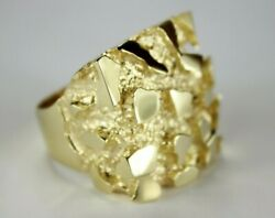 10k Yellow Gold Nugget Ring Extra Large Approximately 27 Grams