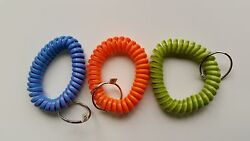 6 - Multi-Colored Coil Key Chains - Wrist Spiral Stretchable Ring Elastic