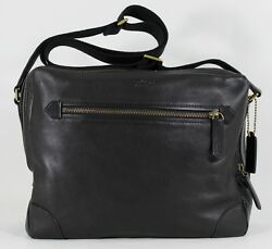 New Coach Men's F71373 Black Leather Flight Briefcase Crossbody Bag NWT