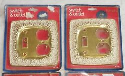 4 Vintage Kirsch Chateau BF142 Brass White Wash Light Switch Outlet Plate Covers