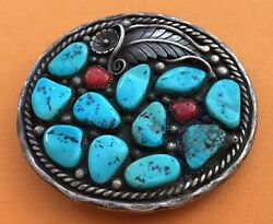 VTG STERLING SILVER Signed FC Native American NAVAJO Style Turquoise BELT BUCKLE