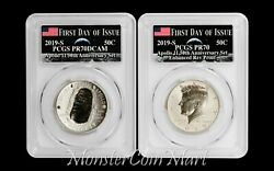2-piece Set - 2019-s Apollo 11 Half Dollars Pcgs 70 First Day - In Stock