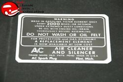 37-46 Chevy Truck 37-48 Chevy Car Dry Style Air Cleaner Decal