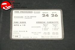 71 72 Impala/full Size Chevy Tire Pressure Decal