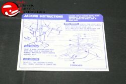 67-68 Camaro Convertible W/ Space Saver Tire Jack Instructions Decal Gm3919193