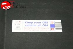 82 Camaro Z-28 305 Keep Your Gm All Gm Air Cleaner Decal Gm Part Gc 20541773