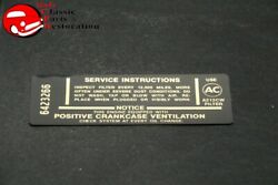 Camaro 396/325hp Air Cleaner Service Instructions Decal