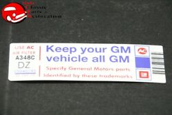 80 Corvette L48 Keep Your Gm All Gm Air Cleaner Decal Gm Part Dz 25040195