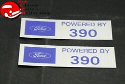Ford Powered By Ford 390 Valve Cover Decals Pair Aftermarket W/ford License