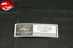 65 Ford Mustang Air Cleaner Service Instructions Decal Part C5zz-9600-w