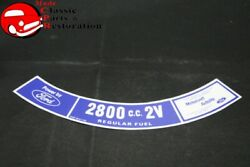 74 Mustang 2800 Cc-2v Air Cleaner Decal Ford Part D4zf-9c611-aa