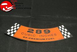 65-67 Mustang 66 Falcon 289-4v Premium Fuel Air Cleaner Decal Part C5zf-9638-d