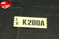 70 Mustang Falcon Fairlane 302-2v At Engine Code Decal Engine Part K280a