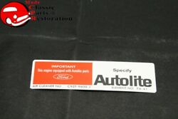 69 Mustang Gt 390 W/ram Air Autolite Air Cleaner Service Instructions Decal