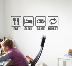 Eat Sleep Game Repeat Wall Sticker Quote Decal | Gamer Kids Teen Bedroom | Wqb78