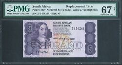 South Africa 5 Rand P119a Nd1978 Replacement / Star Pmg 67 Epq Superb Gem Unc