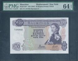 Mauritius 50 Rupees P33c Nd1967 Replacement / Star Note Pmg 64 Epq Gem Unc