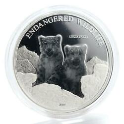 Mongolia 500 Togrog Wildlife Series Snow Leopards Proof Silver Coin 2008