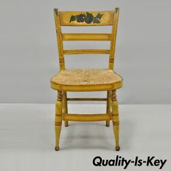 Early 19th C Bentwood Slat Back Rush Seat Yellow Paint Stenciled Dining Chair B