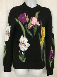 Dolce Gabbana Black Floral Embroidered Knit Sweater L Sleeve Zip Neck Size 38