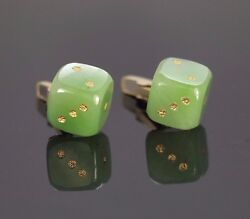 Estate Vintage 1960 A.b. 14k Solid Yellow Gold Green Jade Dice Menand039s Cufflinks