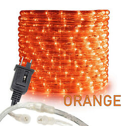 Orange Led Rope Light 10and039 25 50 100 150ft Connectable Indoor Outdoor Waterproof