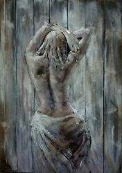 Solid Wood Frame Wall Painting Rust-proof Metallic Sculpture Painting Eco-friend