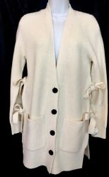 Proenza Schouler Cardigan With Side Ties L/s V Neck Off-white Nwt Size Xs