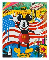 Nastya Rovenskaya Original Oil on Canvas Back in the U.S.A Pop Art mickey mouse