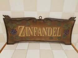 Zinfandel Grapes Wine Kitchen Vintage Wall Décor Metal And Wood Sign