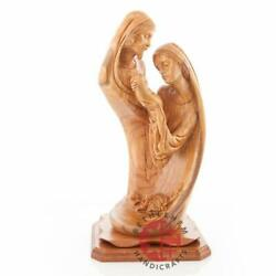 Uniquely Hand Carved Olive Wood Holy Family Statue